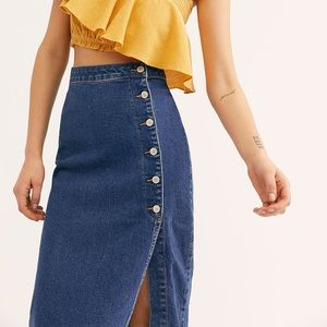 NWT Free People Buttoned Midi Skirt 🌻